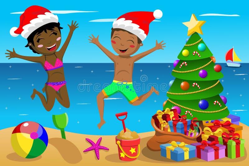 Счастливый купальник детей скача тропическое рождество пляжа бесплатная иллюстрация