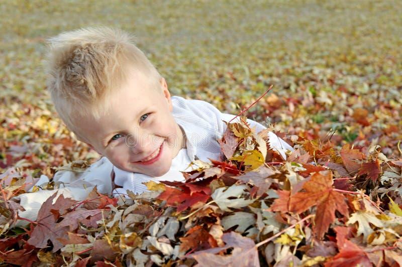 Счастливый маленький ребенок скача в кучу листьев падения стоковая фотография rf