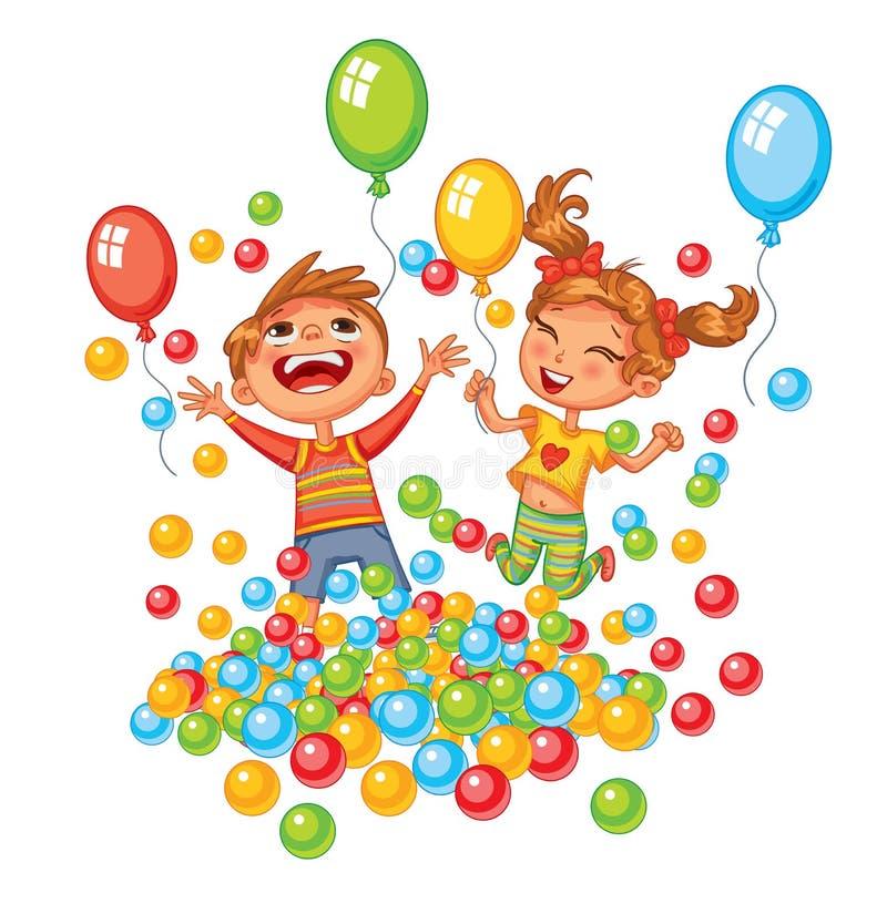 Счастливый мальчик и девушка играя с красочными шариками на спортивной площадке иллюстрация штока