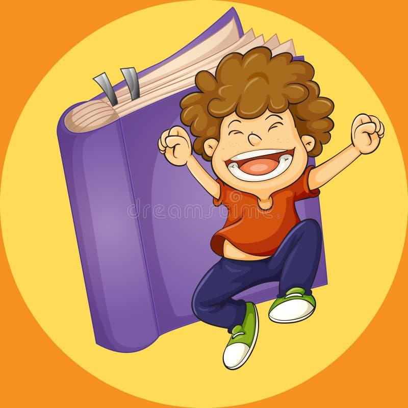 Счастливый мальчик скача с фиолетовой предпосылкой книги иллюстрация вектора