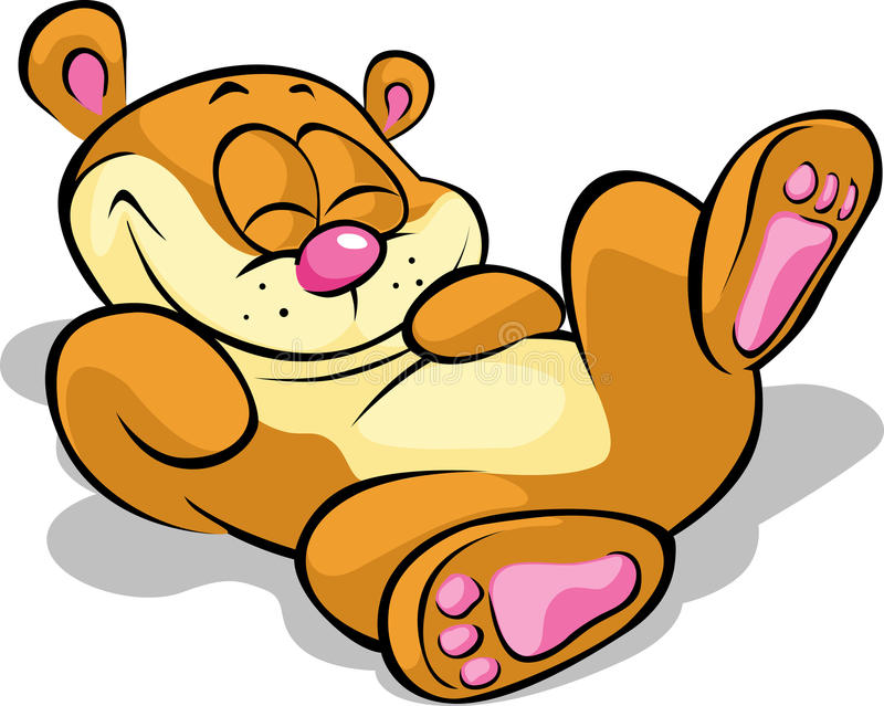 Счастливый медведь лежа на его назад иллюстрация вектора