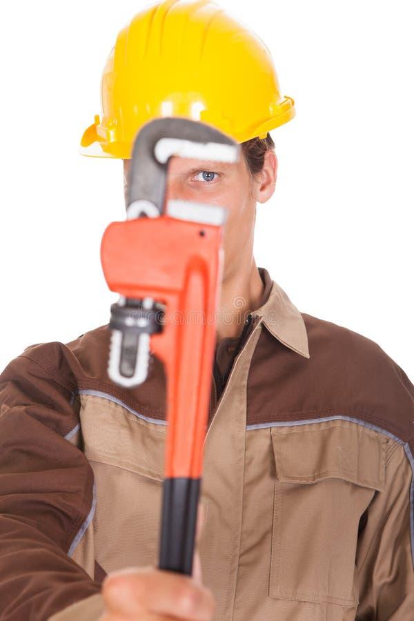 Счастливый молодой работник стоковые изображения rf