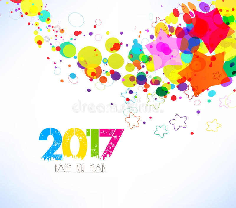 Счастливый Новый Год 2017 абстрактная предпосылка цветастая иллюстрация вектора
