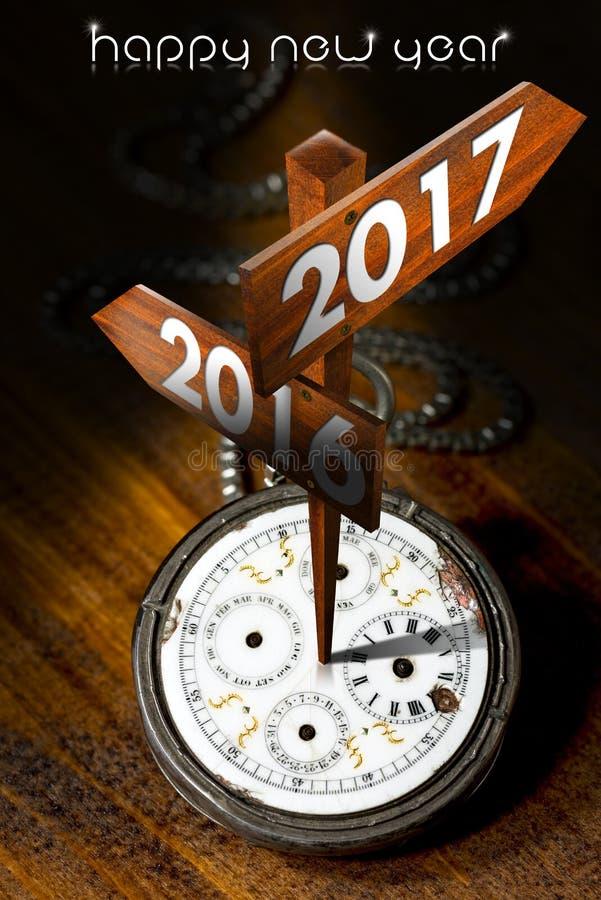 Счастливый Новый Год 2017 - вахта с знаками бесплатная иллюстрация