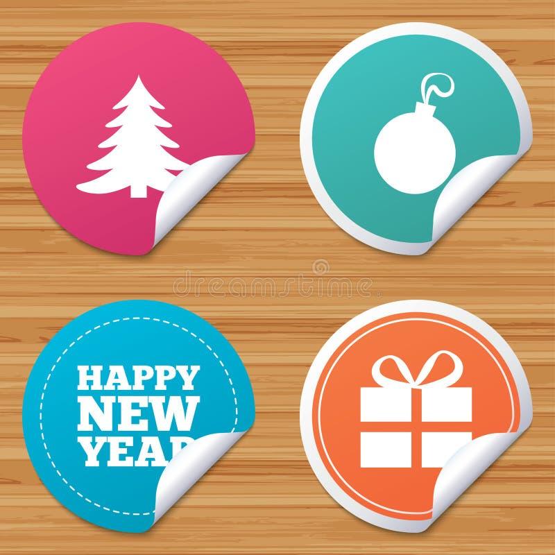 счастливый новый год знака Коробка рождественской елки и подарка иллюстрация штока