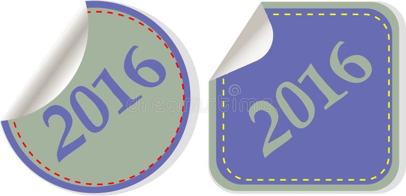 Счастливый Новый Год 2016 - значок сети на круглой кнопке иллюстрация штока