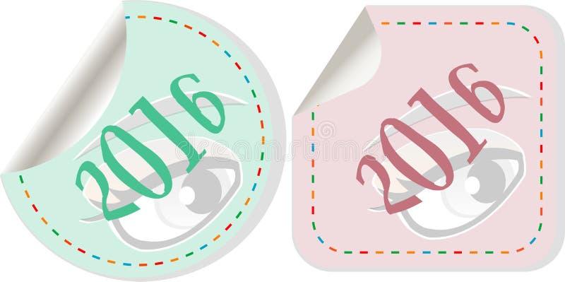 Счастливый Новый Год 2016 - значок с тенью на серой кнопке иллюстрация вектора