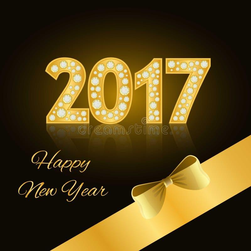 Счастливый Новый Год 2017 Золотые числа Диаманты, драгоценности, стразы, роскошные элементы дизайна иллюстрация штока