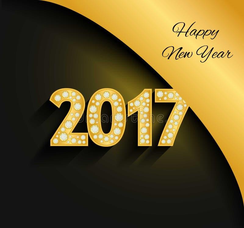 Счастливый Новый Год 2017 Золотые числа Диаманты, драгоценности, стразы, роскошные элементы дизайна иллюстрация вектора