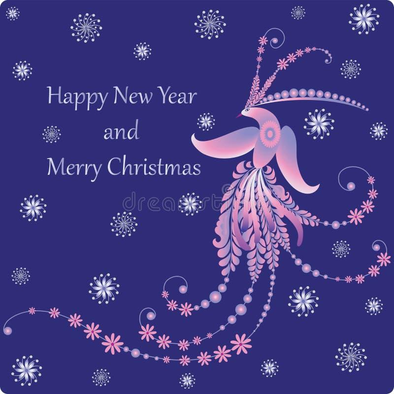Счастливый Новый Год и с Рождеством Христовым Firebird иллюстрация штока