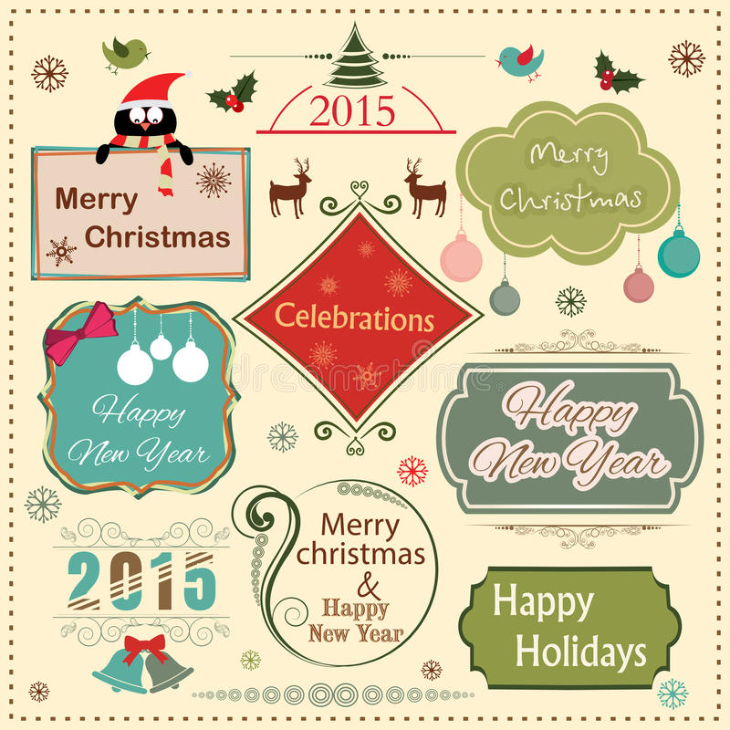 Счастливый Новый Год 2015 и с Рождеством Христовым labe года сбора винограда торжества иллюстрация вектора