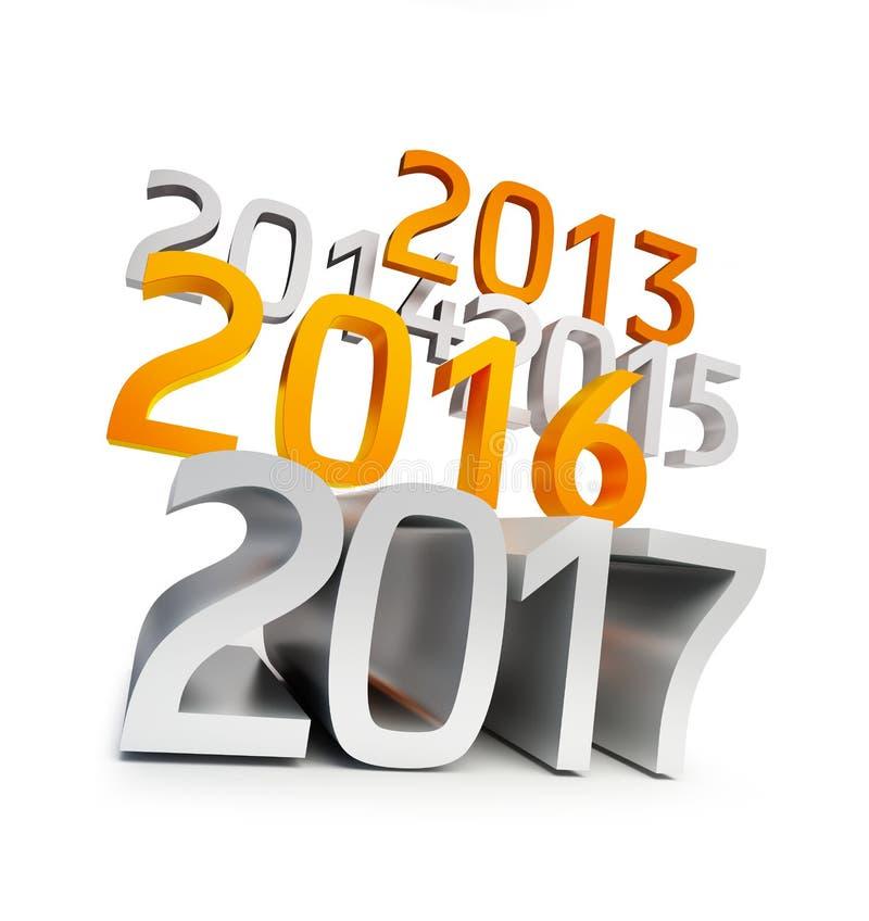 Счастливый Новый Год 2017 иллюстрации 3D иллюстрация вектора