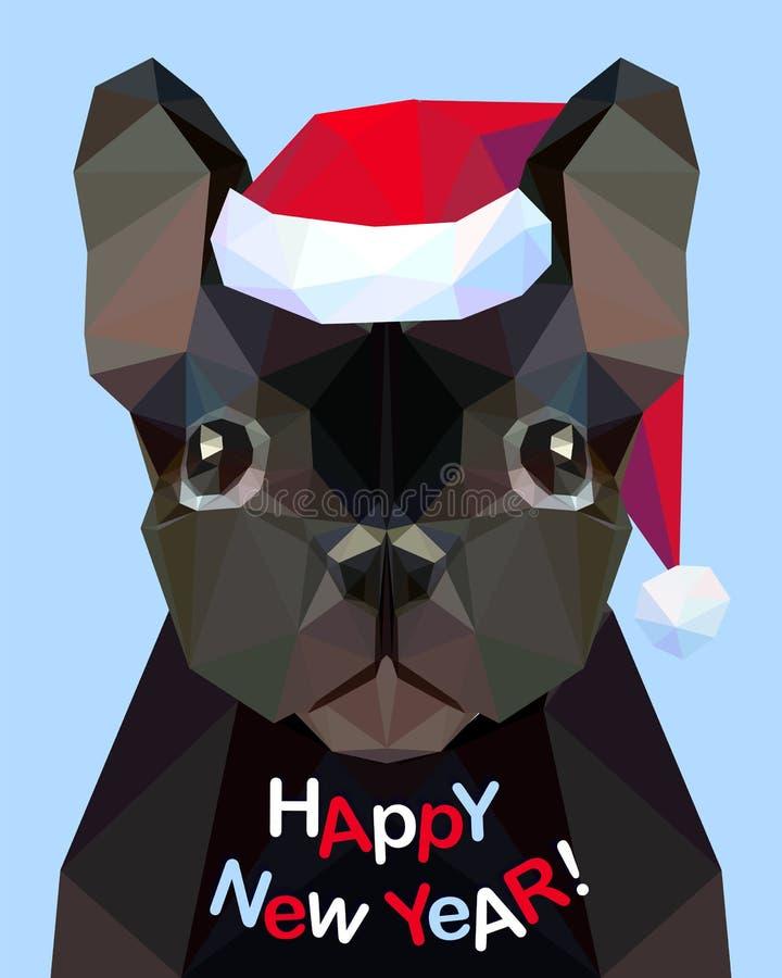 Счастливый Новый Год! Карточка поздравлению Французский бульдог Собака - symbo бесплатная иллюстрация