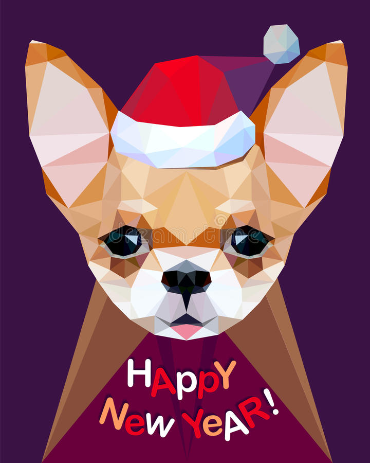 Счастливый Новый Год! Карточка поздравлению Чихуахуа Собака - символ  бесплатная иллюстрация