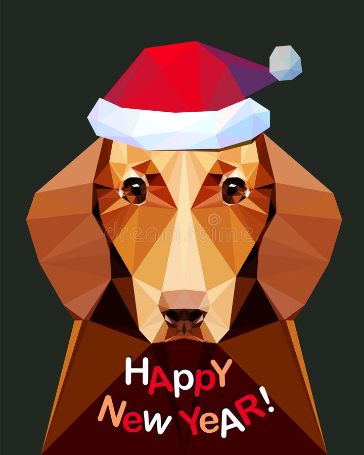 Счастливый Новый Год! Карточка с собакой таксы иллюстрация вектора