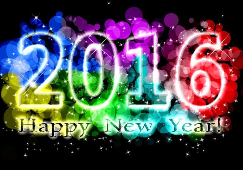Счастливый Новый Год - красочная предпосылка 2016 иллюстрация штока