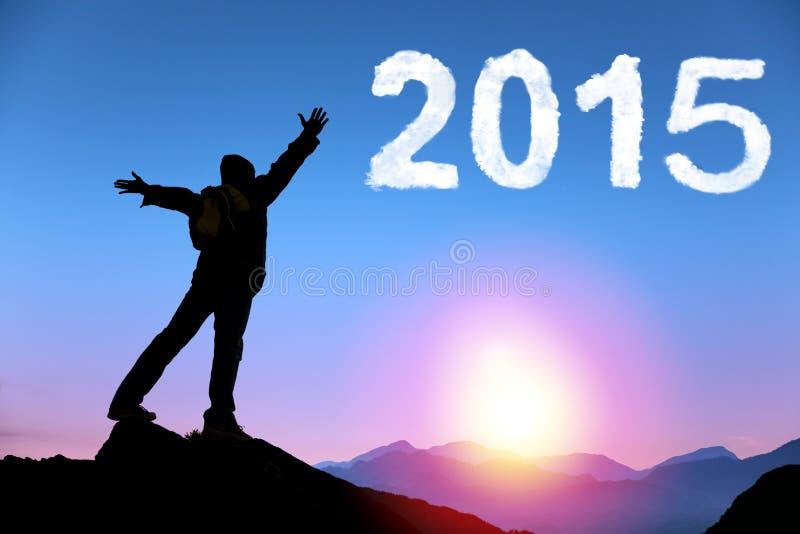 Счастливый Новый Год 2015 молодой человек стоя на верхней части горы стоковое фото rf