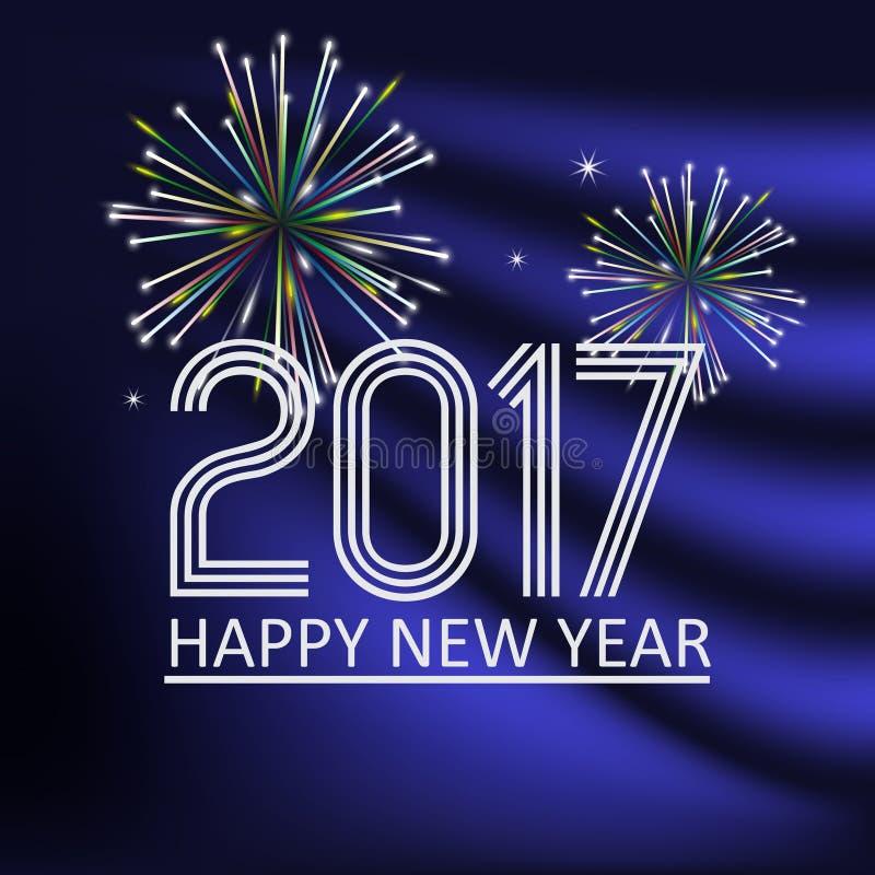 Счастливый Новый Год 2017 на голубой предпосылке цвета конспекта военно-морского флота с фейерверками eps10 бесплатная иллюстрация