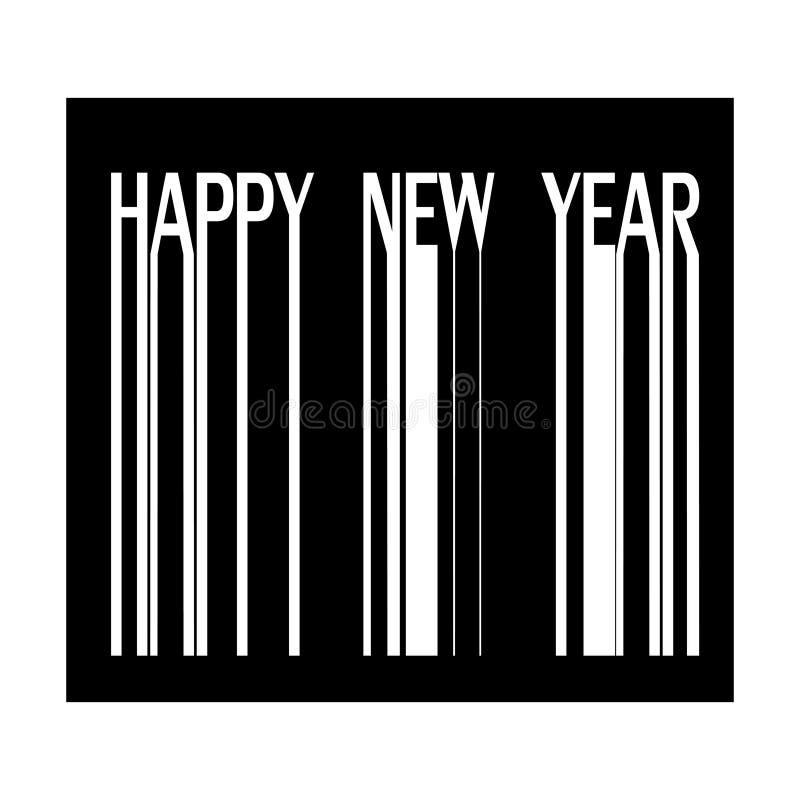 Счастливый Новый Год на иллюстрации штрихкода иллюстрация вектора