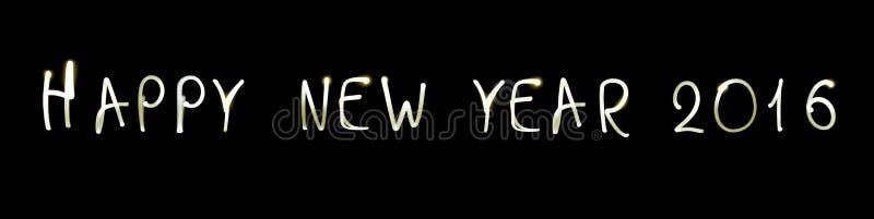 Счастливый Новый Год 2016 на черной предпосылке стоковая фотография