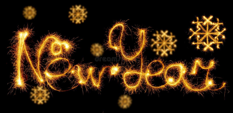 Счастливый Новый Год при снежинка сделанная с sparkles на черноте стоковое изображение rf