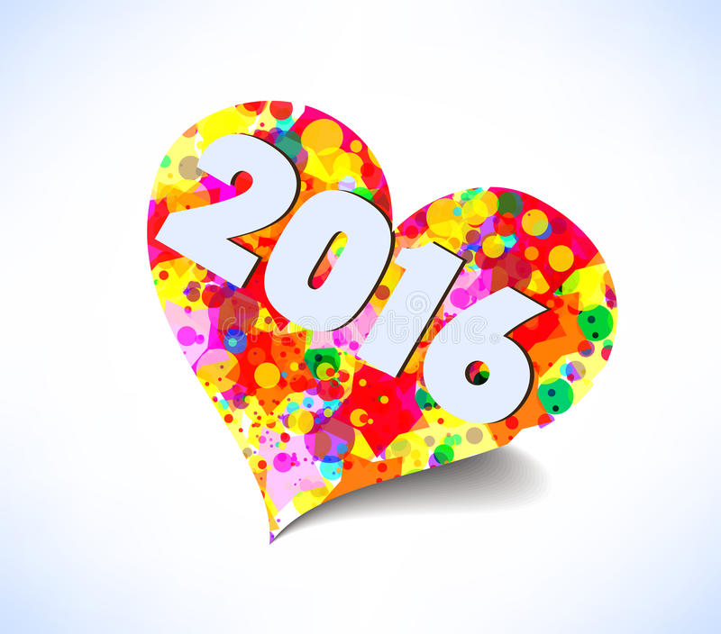 Счастливый Новый Год 2016 сердце абстрактной предпосылки цветастое бесплатная иллюстрация