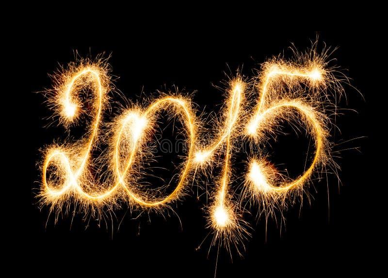 Счастливый Новый Год - 2015 с бенгальскими огнями стоковая фотография rf