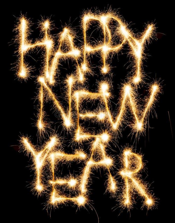 Счастливый Новый Год сделанный sparkles на черноте стоковая фотография rf