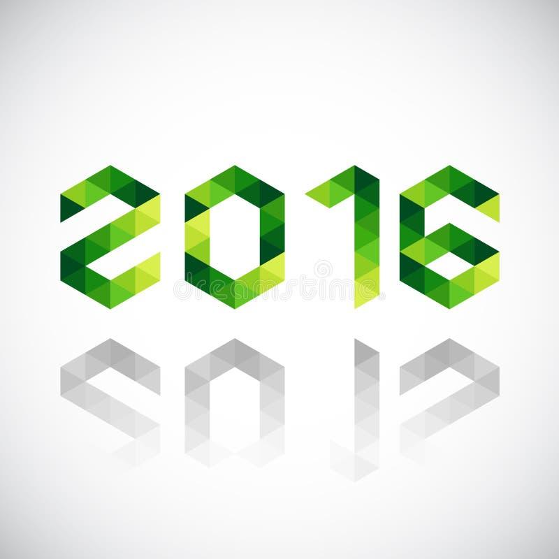 Счастливый Новый Год 2016 сделал в полигональном стиле origami иллюстрация штока