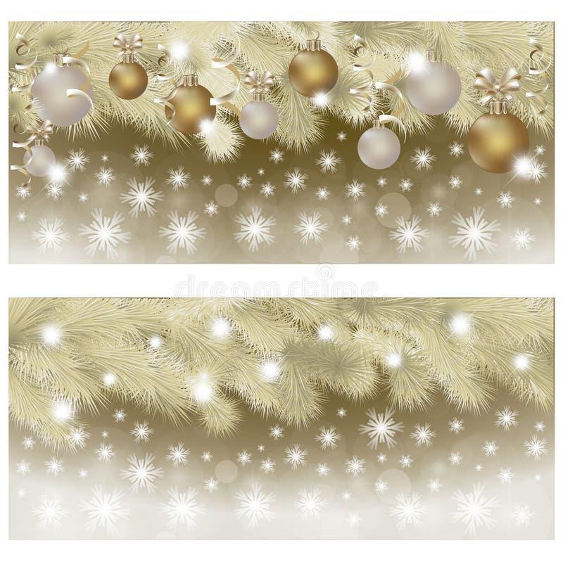 Счастливый Новый Год & с Рождеством Христовым золотые знамена, вектор иллюстрация вектора