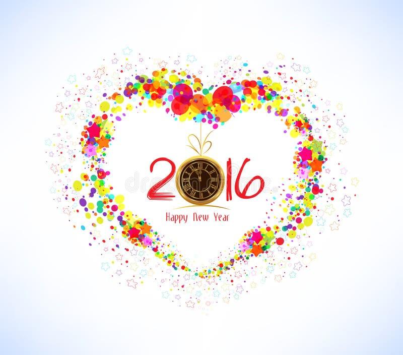 Счастливый Новый Год 2016 форма сердца абстрактной предпосылки цветастая иллюстрация вектора