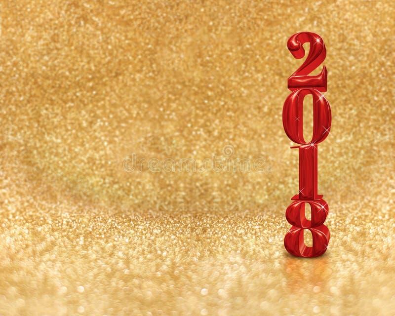 Счастливый Новый Год 2018 3d представляя красный цвет на золотой сверкнать стоковое изображение rf