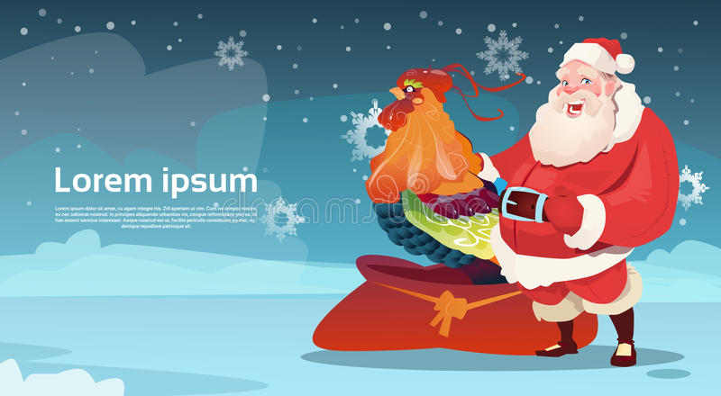 Счастливый новый петух 2017 год с символом гороскопа Санта Клауса азиатским иллюстрация штока