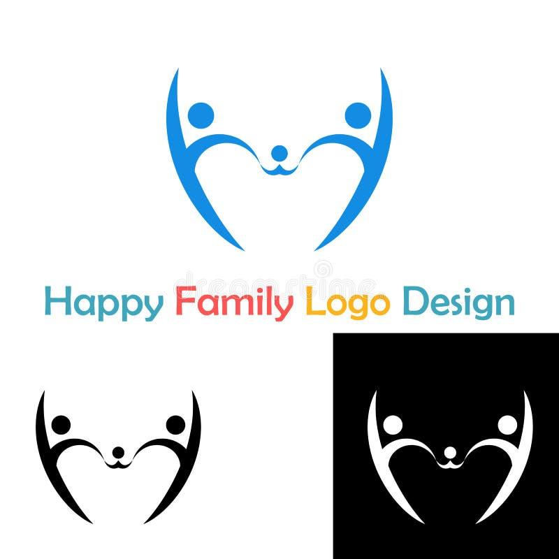 Счастливый логотип концепции семьи иллюстрация штока
