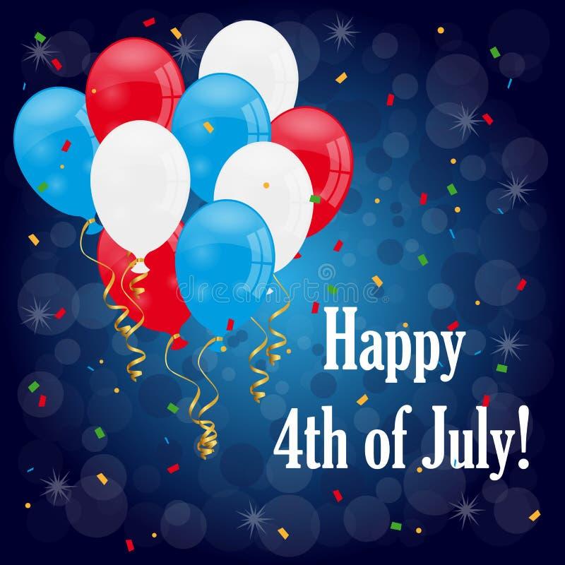 Счастливый 4-ое -го июль иллюстрация штока