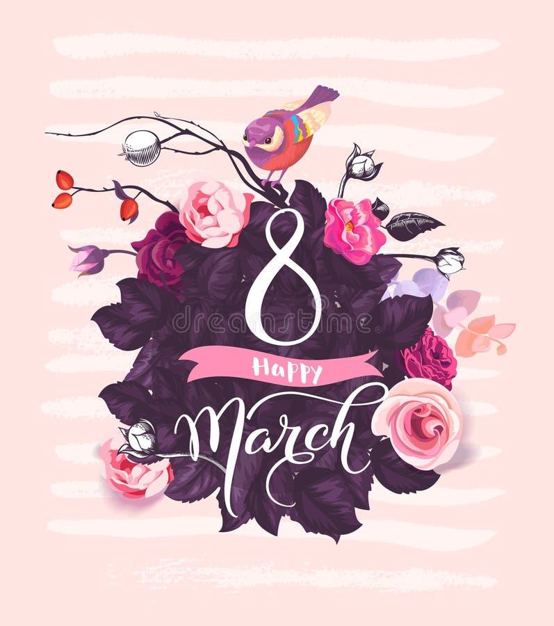 Счастливый 8-ое марта Рукописная литерность против предпосылки с розой пинка цветет, фиолетовые листья, милая пташка сидя дальше бесплатная иллюстрация