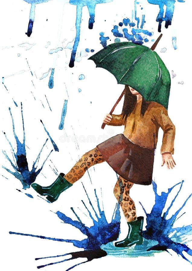 счастливый дождь иллюстрация вектора