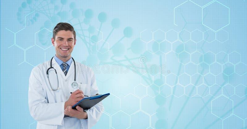 Счастливый доктор (люди) с голубой предпосылкой молекулы стоковая фотография