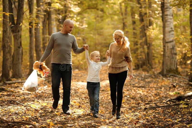 Счастливый папа и дочь мамы семьи идя в парк стоковое изображение
