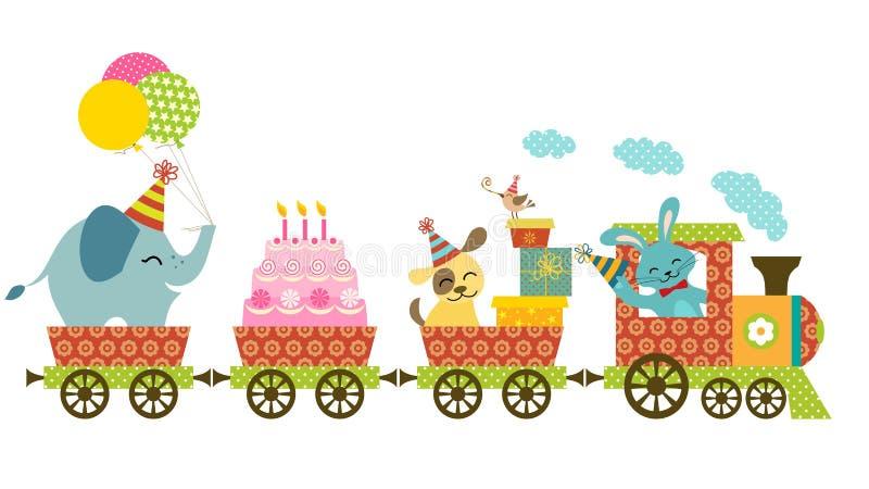 Счастливый поезд иллюстрация штока