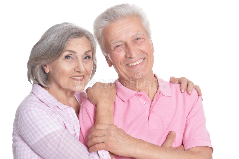 Счастливый пожилой обнимать пар стоковые изображения