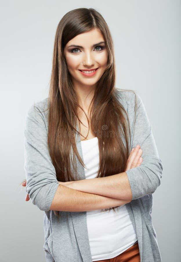 Счастливый портрет студии женщины. стоковые фото