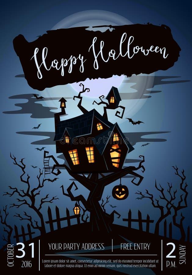 Счастливый плакат партии хеллоуина с пугающим замком иллюстрация вектора