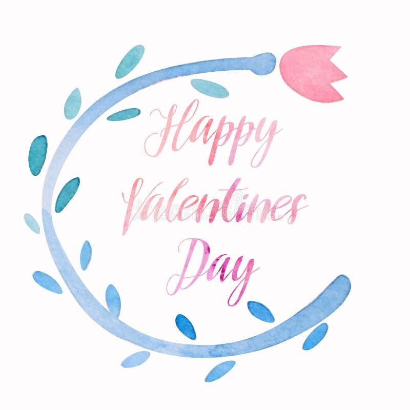 Счастливый план карточки праздника акварели kawaii дня валентинок милый, венок тюльпана с каллиграфической литерностью иллюстрация вектора