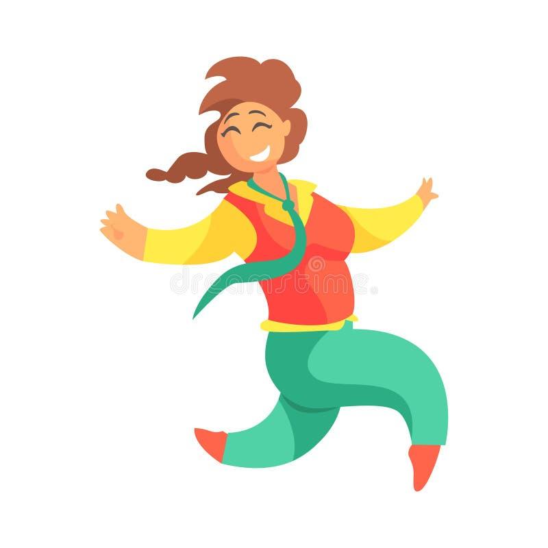 Счастливый плюс женщина размера в красном жилете и зеленых брюках с Plat идущее, наслаждающся жизнью, усмехаясь шарж девушки Over бесплатная иллюстрация