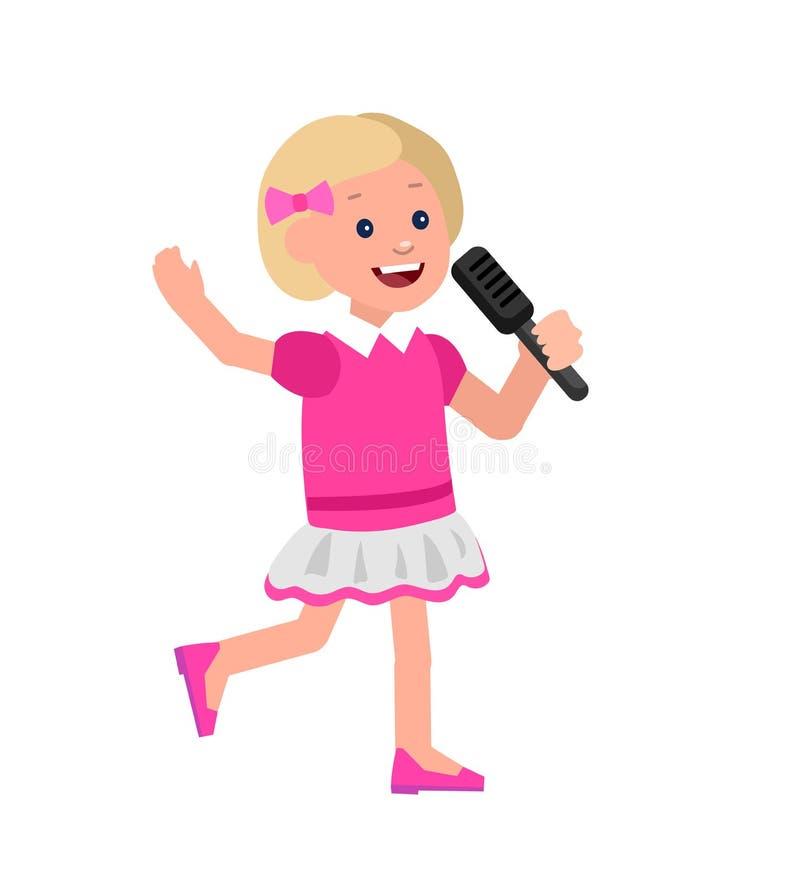 Счастливый ребенк играя на contrabass, балете танцев петь иллюстрация вектора