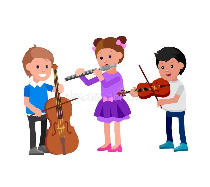 Счастливый ребенк играя на contrabass, балете танцев петь иллюстрация штока