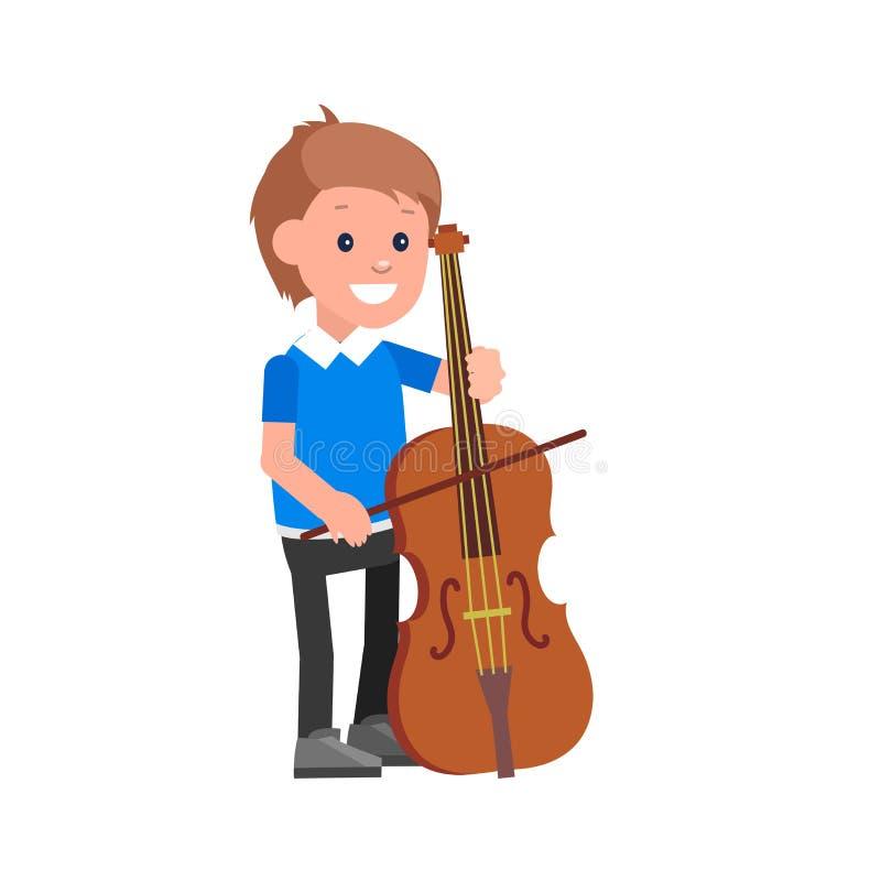 Счастливый ребенк играя на contrabass иллюстрация штока