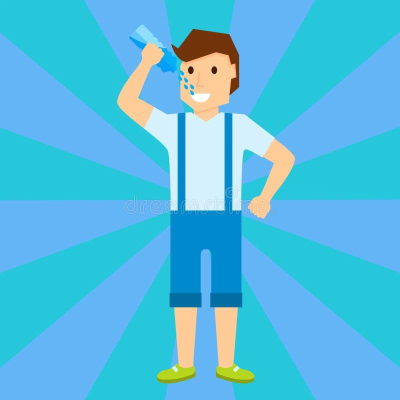 Счастливый ребенок мальчика усмехаясь портрет молодой мужской иллюстрации вектора характера воды питья бесплатная иллюстрация