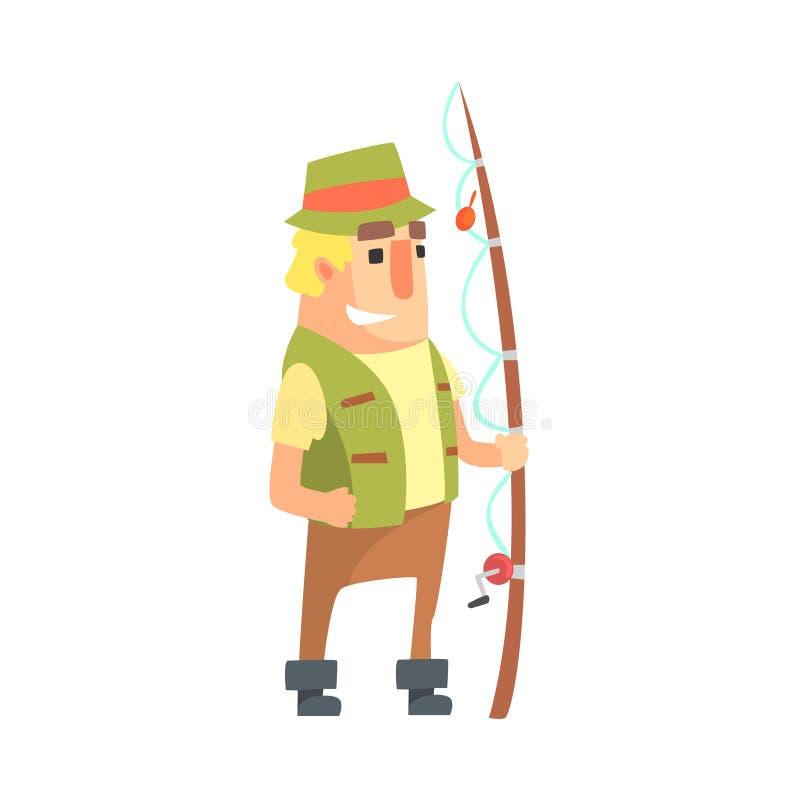 Счастливый рыболов дилетанта в хаки одеждах стоя с характером вектора шаржа рыболовной удочки и его иллюстрацией хобби иллюстрация вектора